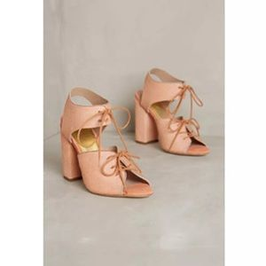 Anthropologie pink Charlotte Stone calf hair heels